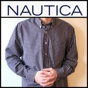 Nautica Classic Fit Blue Checkered Button Down